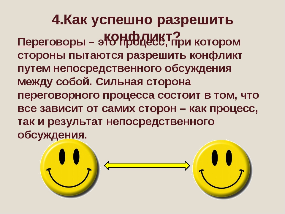 4.Как успешно разрешить конфликт? Переговоры – это процесс, при котором сторо...