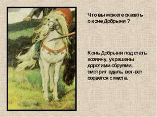 Что вы можете сказать о коне Добрыни ? Конь Добрыни под стать хозяину, украше