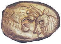 Монета с изображением льва и быка