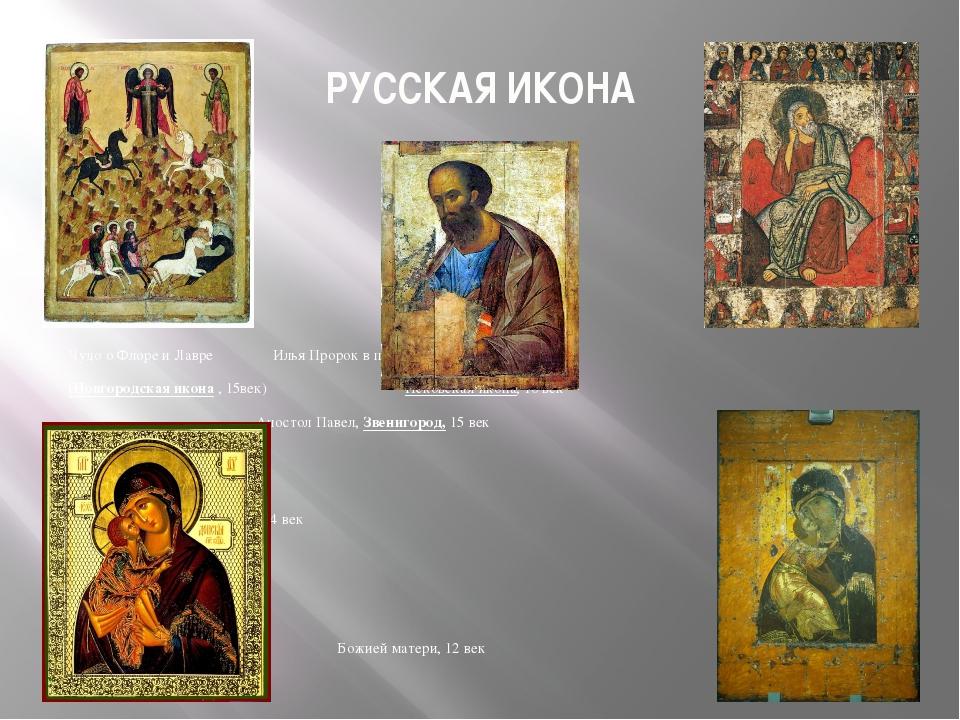 РУССКАЯ ИКОНА Чудо о Флоре и Лавре  Илья Пророк в пустыне (Новгородская и...