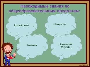 Необходимые знания по общеобразовательным предметам: Русский язык Литература