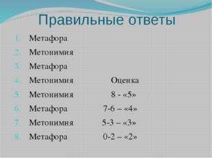Правильные ответы Метафора Метонимия Метафора Метонимия Оценка Метонимия 8 -