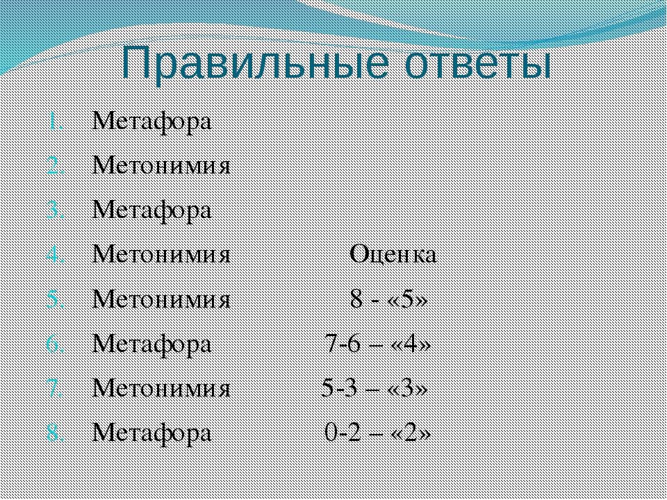 Правильные ответы Метафора Метонимия Метафора Метонимия Оценка Метонимия 8 -...