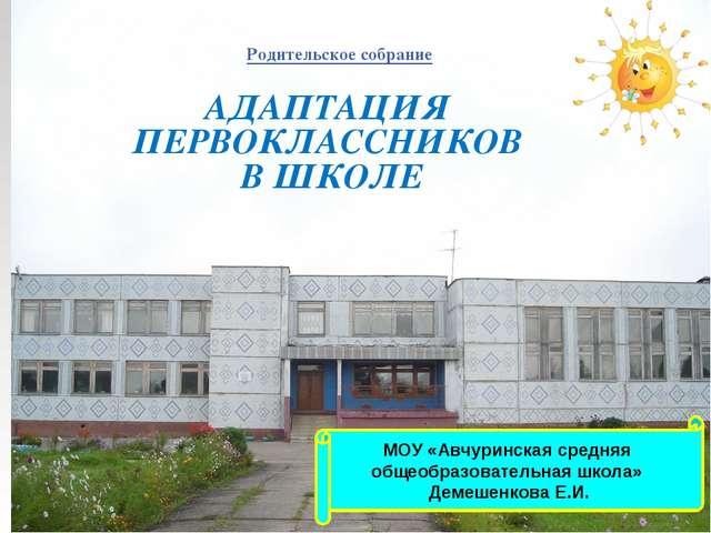 МОУ «Авчуринская средняя общеобразовательная школа» Демешенкова Е.И. АДАПТАЦИ...