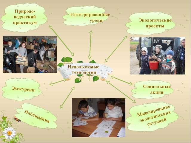 Используемые технологии Экскурсии Природо- ведческий практикум Социальные акц...
