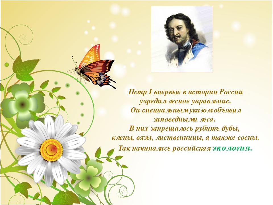 Петр I впервые в истории России учредил лесное управление. Он специальным ука...