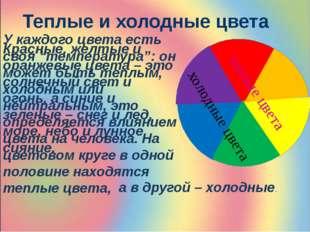 """Теплые и холодные цвета У каждого цвета есть своя """"температура"""": он может быт"""