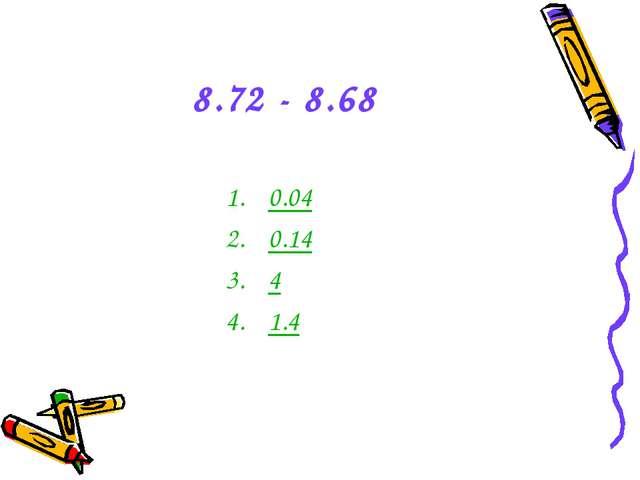 8.72 - 8.68 0.04 0.14 4 1.4