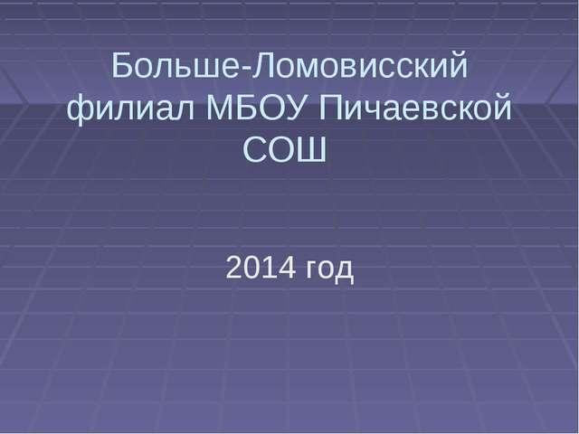 Больше-Ломовисский филиал МБОУ Пичаевской СОШ 2014 год