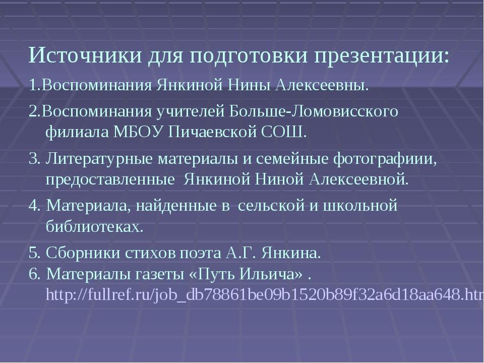 Источники для подготовки презентации: 1.Воспоминания Янкиной Нины Алексеевны....