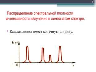 Распределение спектральной плотности интенсивности излучения в линейчатом сп
