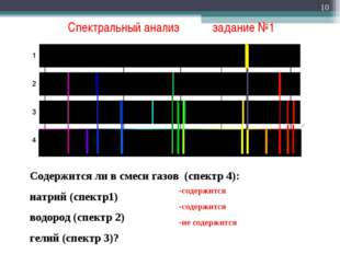 Спектральный анализ задание №1 * Содержится ли в смеси газов (спектр 4): нат