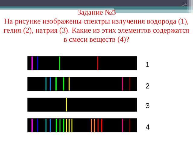 * Задание №5 На рисунке изображены спектры излучения водорода (1), гелия (2),...