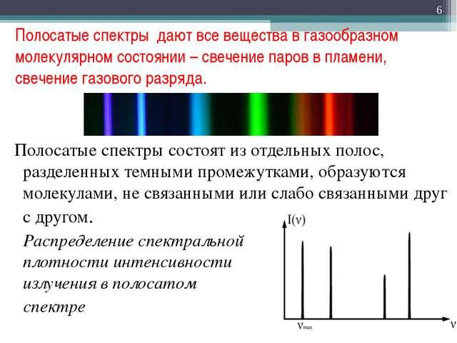 Полосатые спектры дают все вещества в газообразном молекулярном состоянии – с...