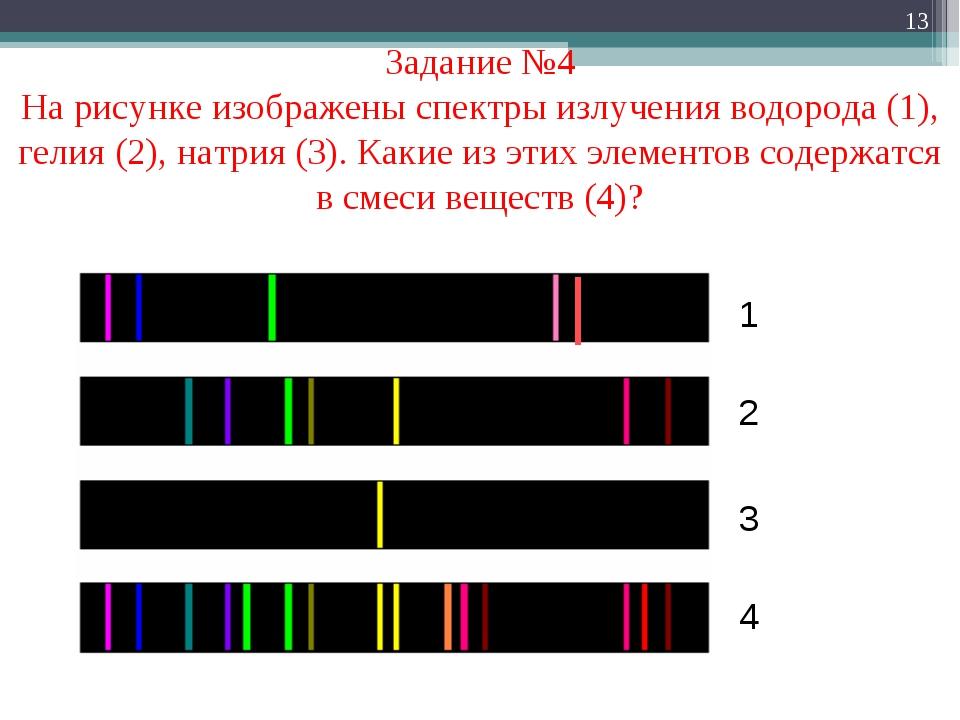 * Задание №4 На рисунке изображены спектры излучения водорода (1), гелия (2),...