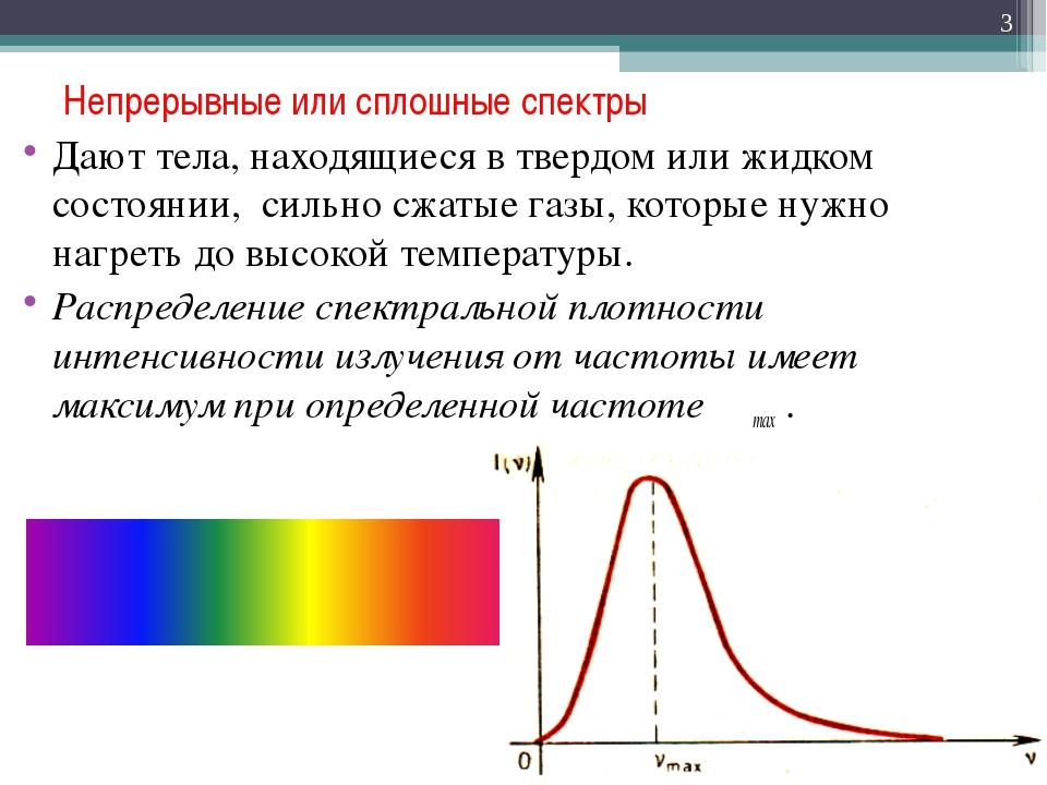 Непрерывные или сплошные спектры Дают тела, находящиеся в твердом или жидком...