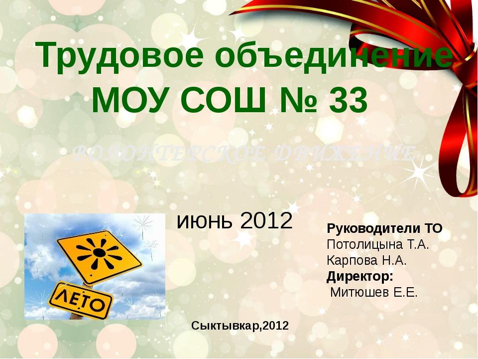 Трудовое объединение МОУ СОШ № 33 ВОЛОНТЕРСКОЕ ДВИЖЕНИЕ июнь 2012 Руководител...