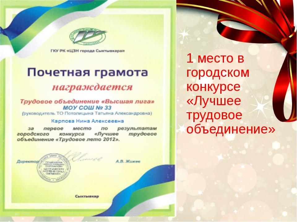 1 место в городском конкурсе «Лучшее трудовое объединение»