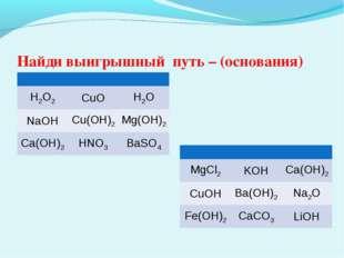 Найди выигрышный путь – (основания)  H2O2CuOH2O NaOHCu(OH)2Mg(OH)2 Ca(O