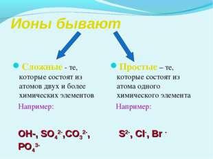 Ионы бывают Сложные - те, которые состоят из атомов двух и более химических э