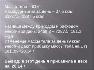 Масса тела – 61кг Расход энергии за день – 37,5 ккал 61х37,5=2287,5 ккал Разн