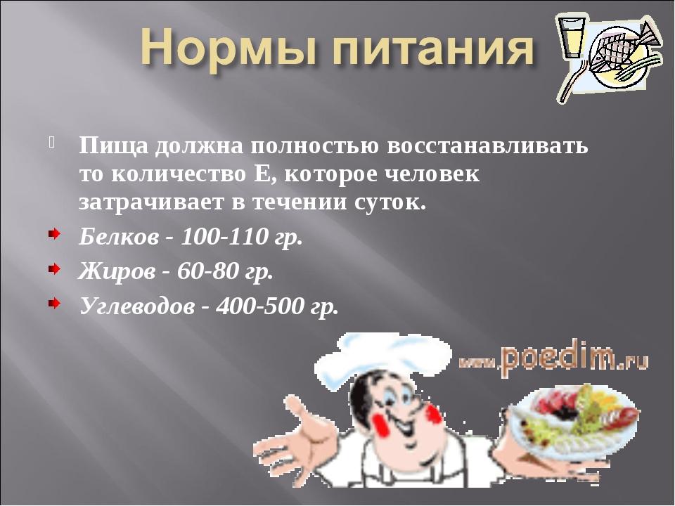 Пища должна полностью восстанавливать то количество Е, которое человек затрач...