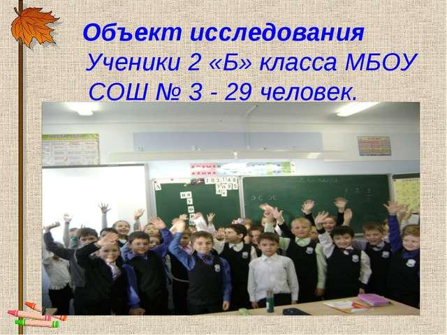 Объект исследования Ученики 2 «Б» класса МБОУ СОШ № 3 - 29 человек.