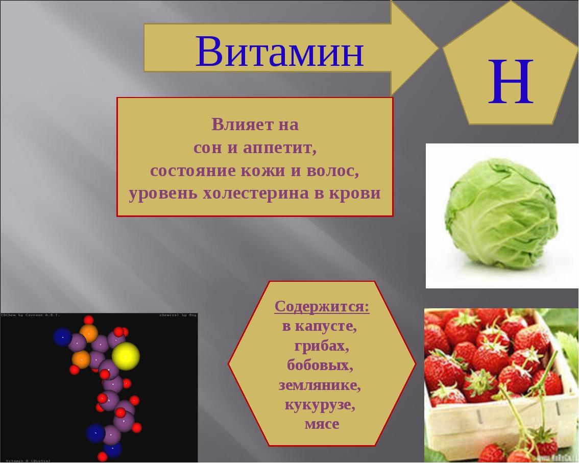 Витамин Влияет на сон и аппетит, состояние кожи и волос, уровень холестерина...