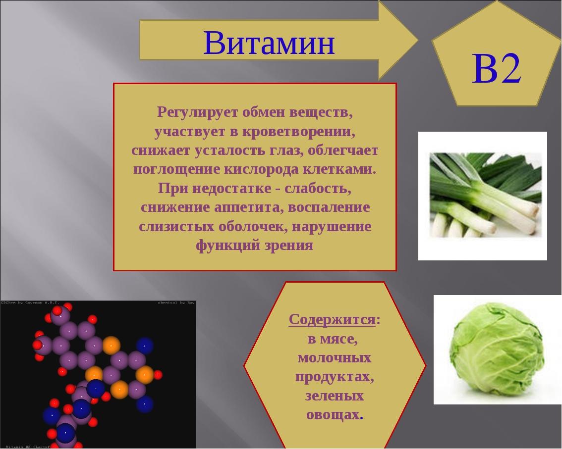 B2 Содержится: в мясе, молочных продуктах, зеленых овощах. Регулирует обмен в...