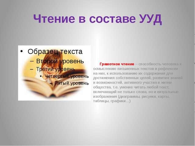 Чтение в составе УУД Грамотное чтение – способность человека к осмыслению пис...