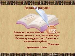 Великая польза бывает от книжного учения. Книги – реки, наполняющие Вселенную