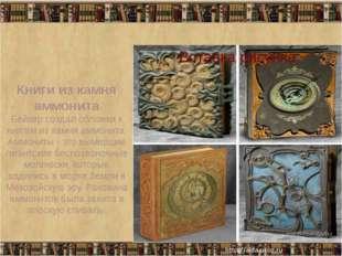 Книги из камня аммонита Бейкер создал обложки к книгам из камня аммонита. Ам