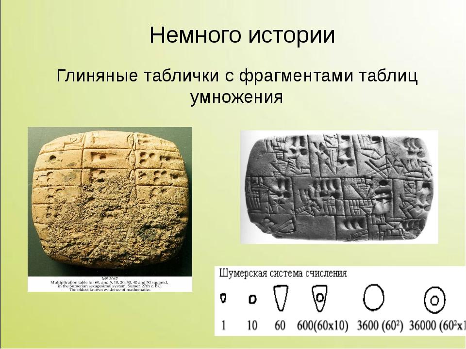 Глиняные таблички с фрагментами таблиц умножения Немного истории