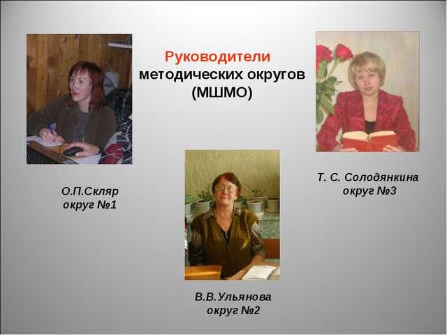 Руководители методических округов (МШМО) О.П.Скляр округ №1 Т. С. Солодянкина...