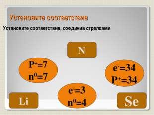 Установите соответствие Установите соответствие, соединив стрелками P+=7 n0=7