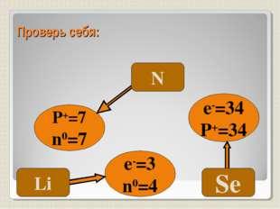 Проверь себя: P+=7 n0=7 e-=34 P+=34 e-=3 n0=4 N Se Li