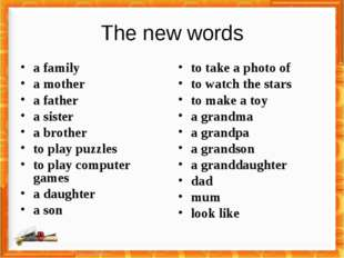 The new words a family a mother a father a sister a brother to play puzzles t
