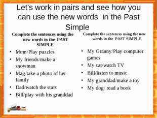 Let's work in pairs and see how you can use the new words in the Past Simple