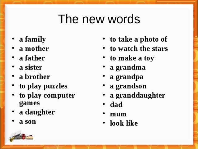 The new words a family a mother a father a sister a brother to play puzzles t...