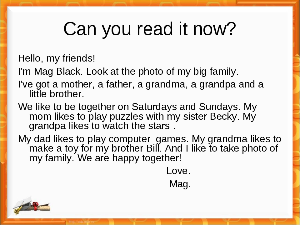 Can you read it now? Hello, my friends! I'm Mag Black. Look at the photo of m...