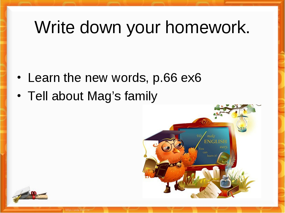 Write down your homework. Learn the new words, p.66 ex6 Tell about Mag's family