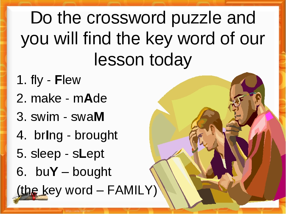 Do the crossword puzzle and you will find the key word of our lesson today 1....