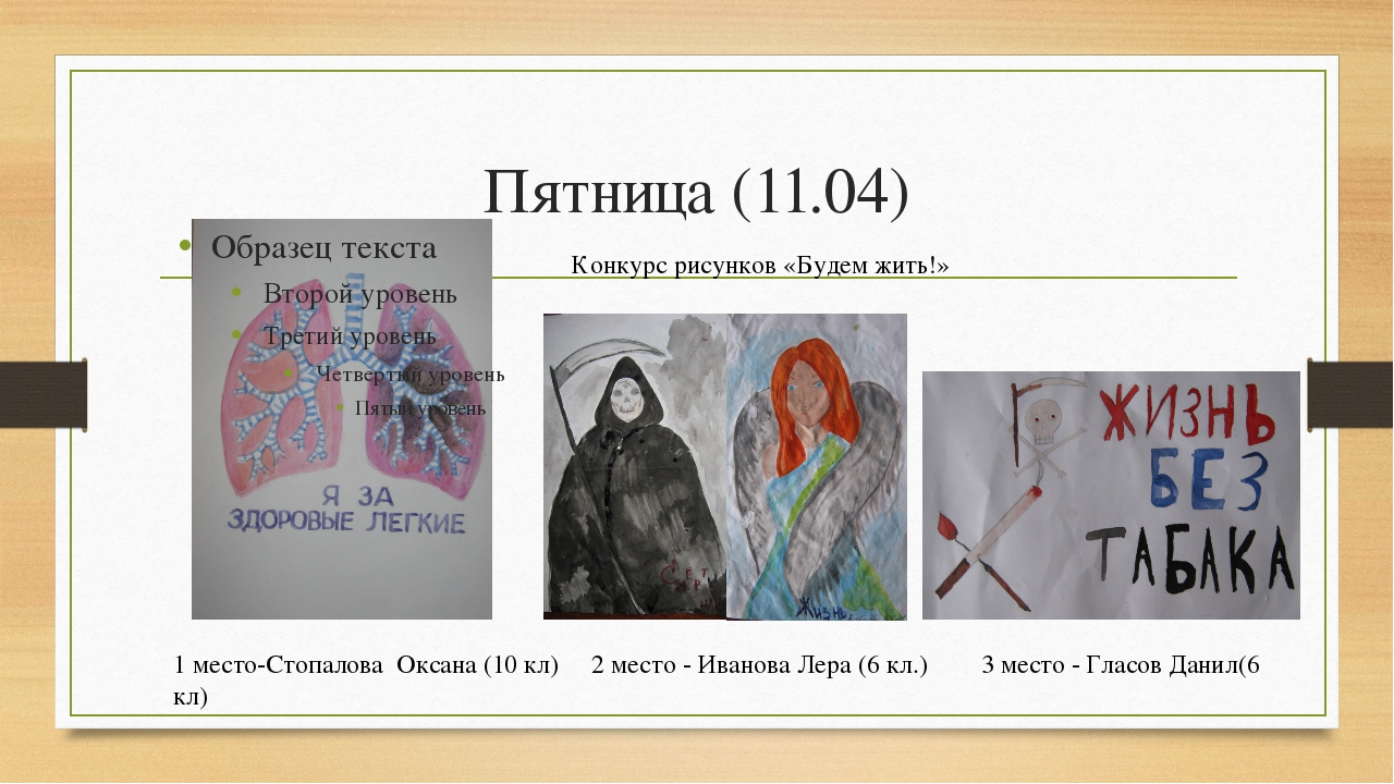 Пятница (11.04) Конкурс рисунков «Будем жить!» 1 место-Стопалова Оксана (10 к...