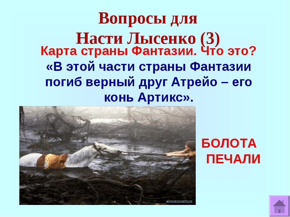 Вопросы для Насти Лысенко (3) Карта страны Фантазии. Что это? «В этой части с...
