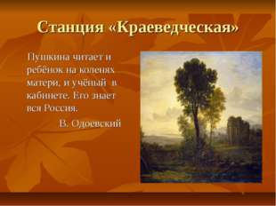 Станция «Краеведческая» Пушкина читает и ребёнок на коленях матери, и учёный