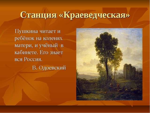 Станция «Краеведческая» Пушкина читает и ребёнок на коленях матери, и учёный...
