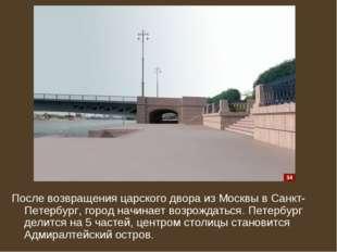 После возвращения царского двора из Москвы в Санкт-Петербург, город начинает