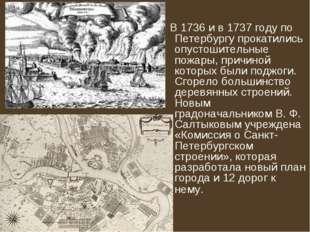 В1736и в1737 годупо Петербургу прокатились опустошительные пожары, причи