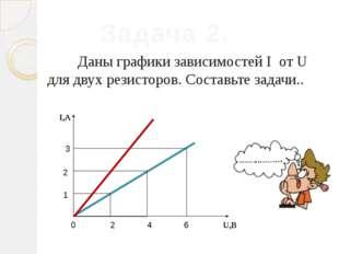 Даны графики зависимостей I от U для двух резисторов. Составьте задачи.. Зад
