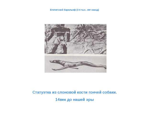 Египетский барельеф (3-4 тыс. лет назад) Статуэтка из слоновой кости гончей...